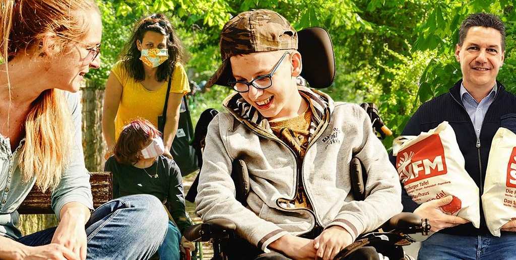 Eine Collage von Helfenden, die die Corona-Soforthilfe der Aktion Mensch erhalten.